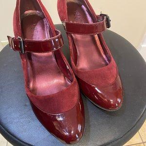Burgundy mary jane pumps